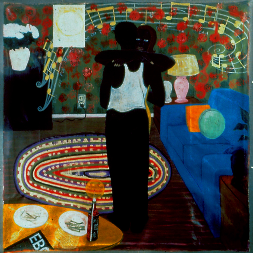 KERRY JAMES MARSHALL Slow Dance, 1993 acrylic and collage on canvas 77 x 75 inches Inventory #KM93.004 © Kerry James Marshall. Courtesy of the artist and Jack Shainman Gallery, New York
