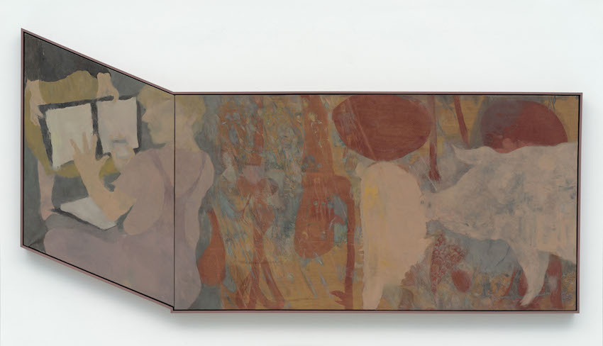 "Kai Althoff ""Untitled"", 2014 Oil, enamel, oil crayon and linseed oil on linen, 119 x 242 cm"